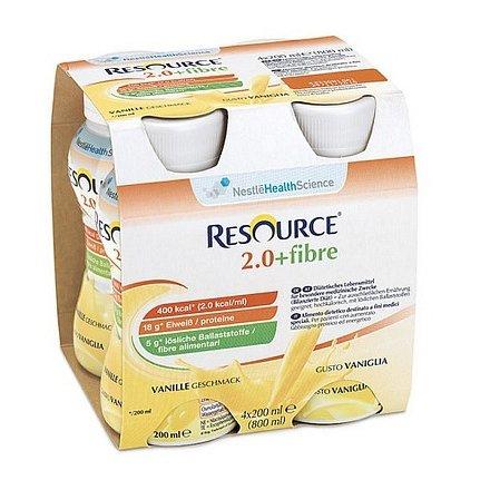 Resource 2.0 kcal Fibre Vanilkový perorální roztok 4 x 200 ml