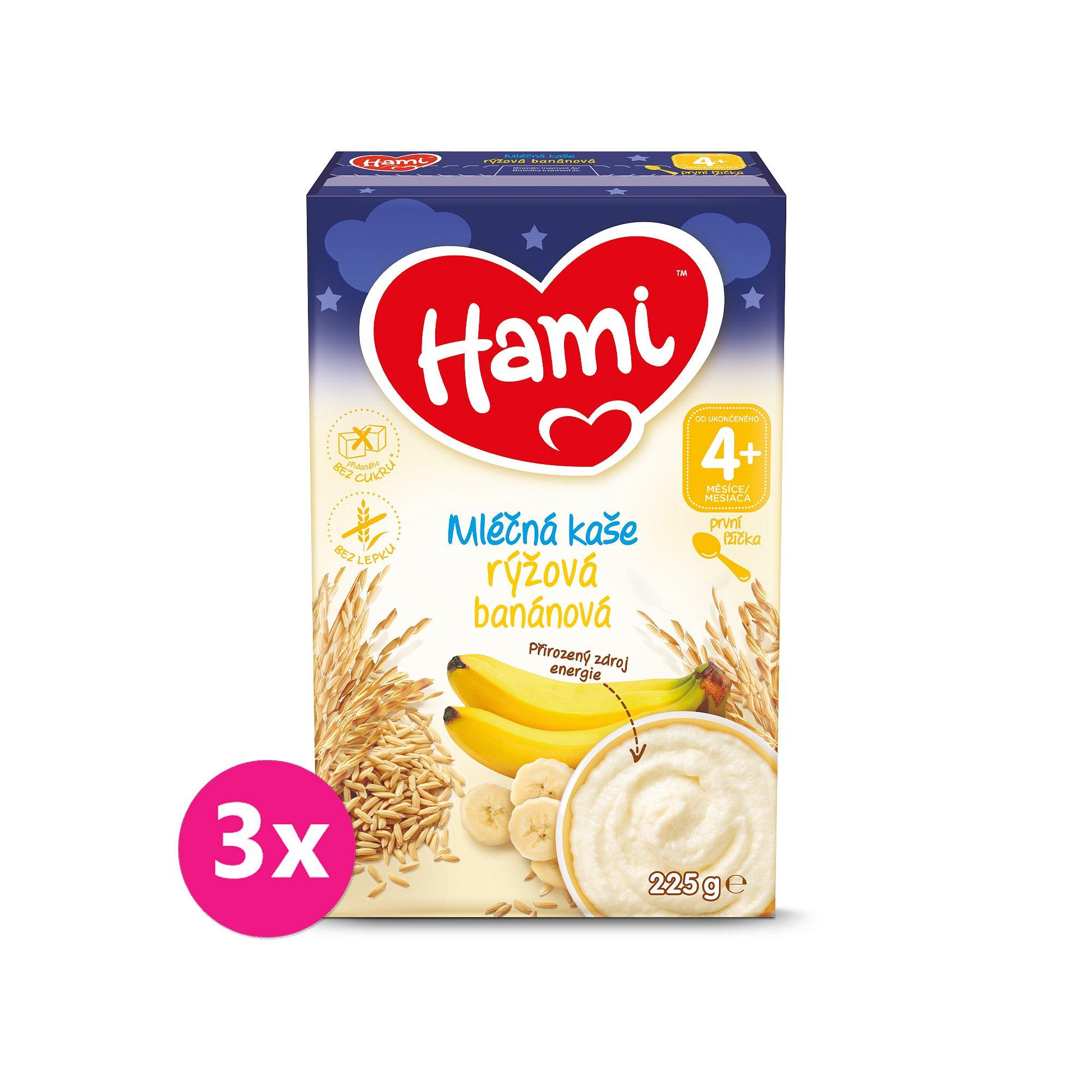 3x HAMI Mléčná kaše rýžová banánová na dobrou noc 225 g