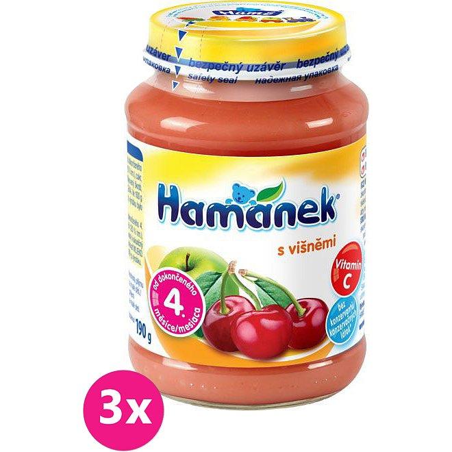 3x HAMÁNEK Kojenecká výživa višeň (190 g) - ovocný příkrm