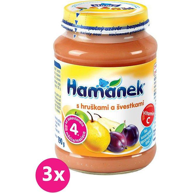 3x HAMÁNEK S hruškami a švestkami, (190 g) - ovocný příkrm