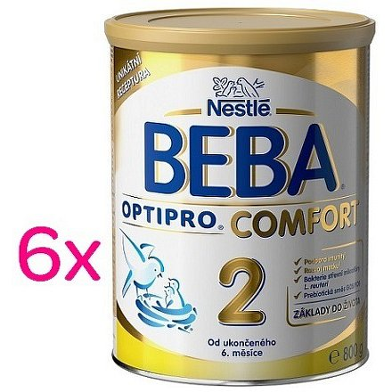 NESTLÉ Beba OPTIPRO Comfort 2, mléčná kojenecká výživa, 6x800g