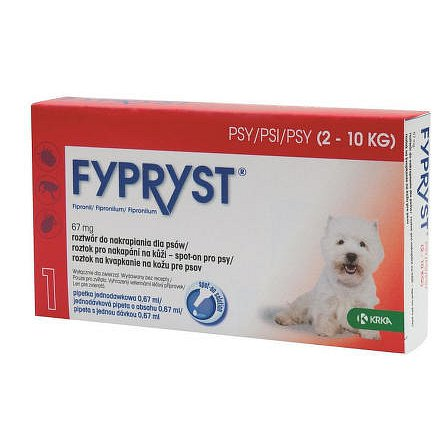 Fypryst 67 mg  roztok pro nakapání na kůži – spot-on pro psy