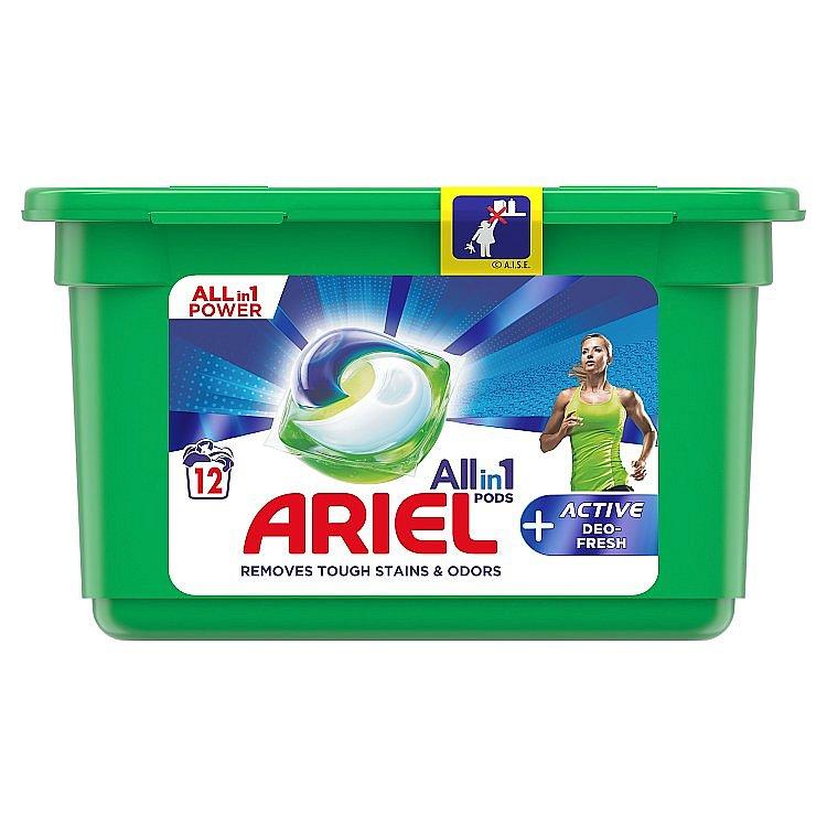 Ariel All-In-1 PODs + Aktivní Technologie Proti Zápachu Kapsle Na Praní 12 praní