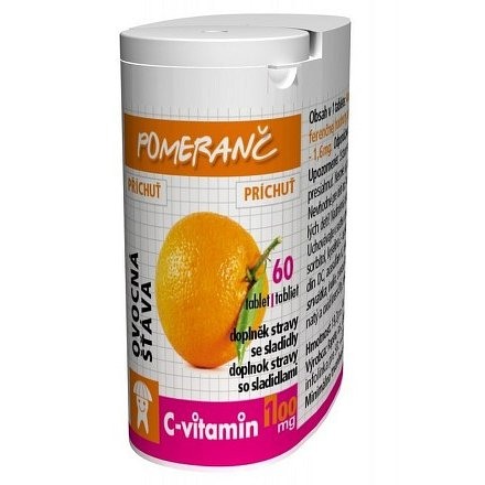 C-Vitamin 100 mg - Pomeranč se sukralózou tablety 60
