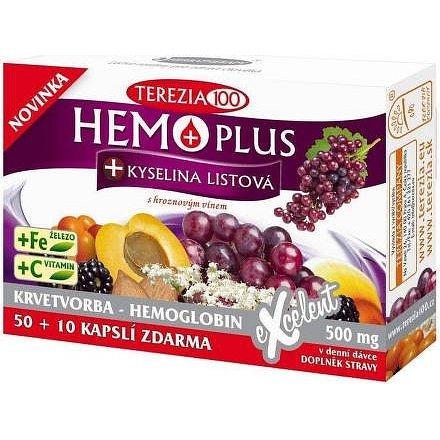 HEMOPLUS+Kys.listová 50+10 kapslí vhodné pro těhotné