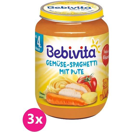 3x BEBIVITA Zelenina se špagetami s krůtím masem (190 g) - masozeleninový příkrm