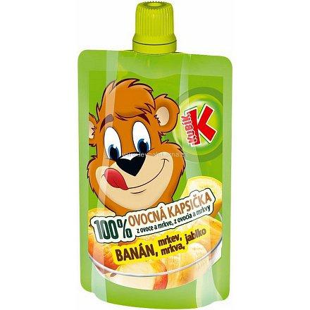 KUBÍK 100% ovocná kapsička banán-mrkev-jablko 100g