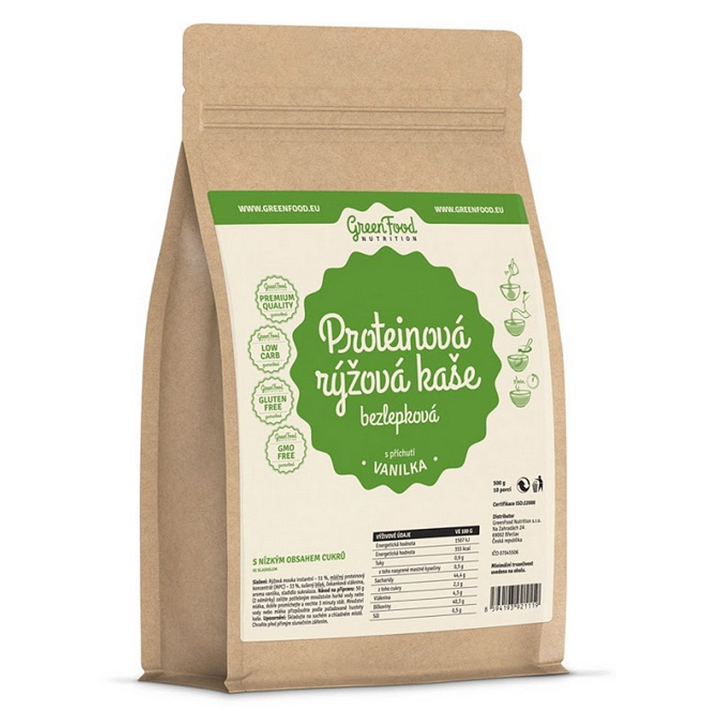 GREENFOOD NUTRITION Proteinová rýžová bezlepková kaše vanilka 500 g