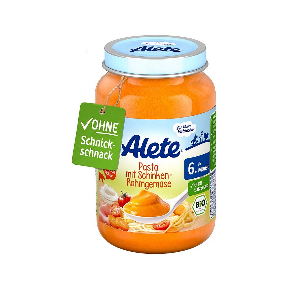 ALETE Bio Zelenina s těstovinami a vepřovou šunkou z kýty a plece 190 g