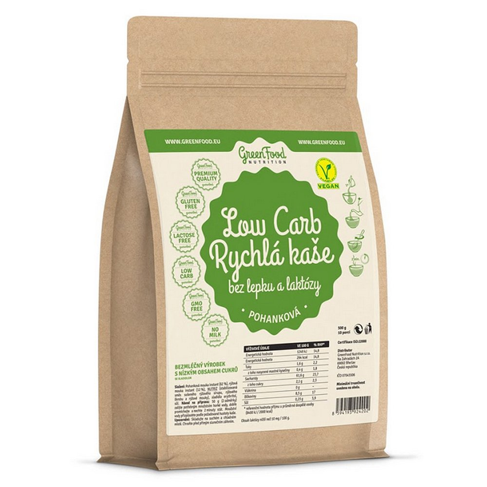 GREENFOOD NUTRITION Low carb rychlá kaše pohanková 500 g