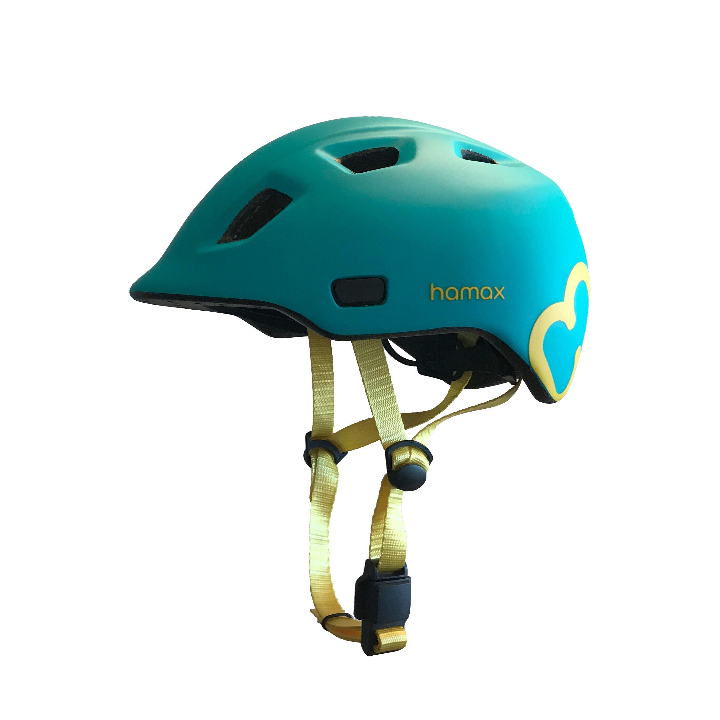 HAMAX Thundercap cyklohelma 47-52 - tyrkysová / žluté pásky
