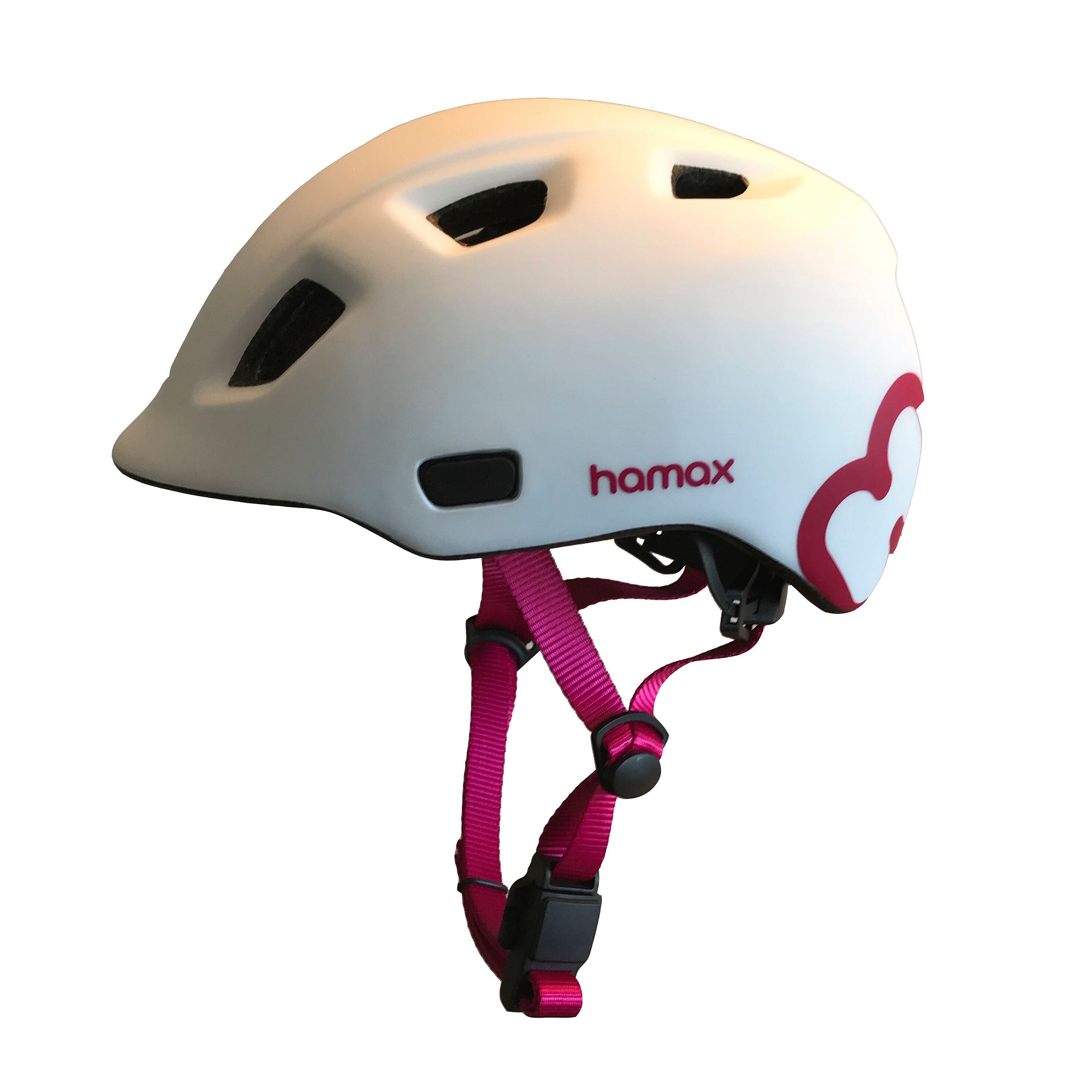 HAMAX Thundercap cyklohelma 52-57 - bílá / růžové pásky