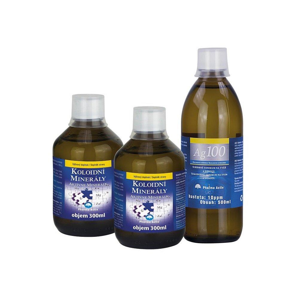 PHARMA ACTIV Koloidní minerály 2x 300 ml + Koloidní stříbro 10 ppm 500 ml