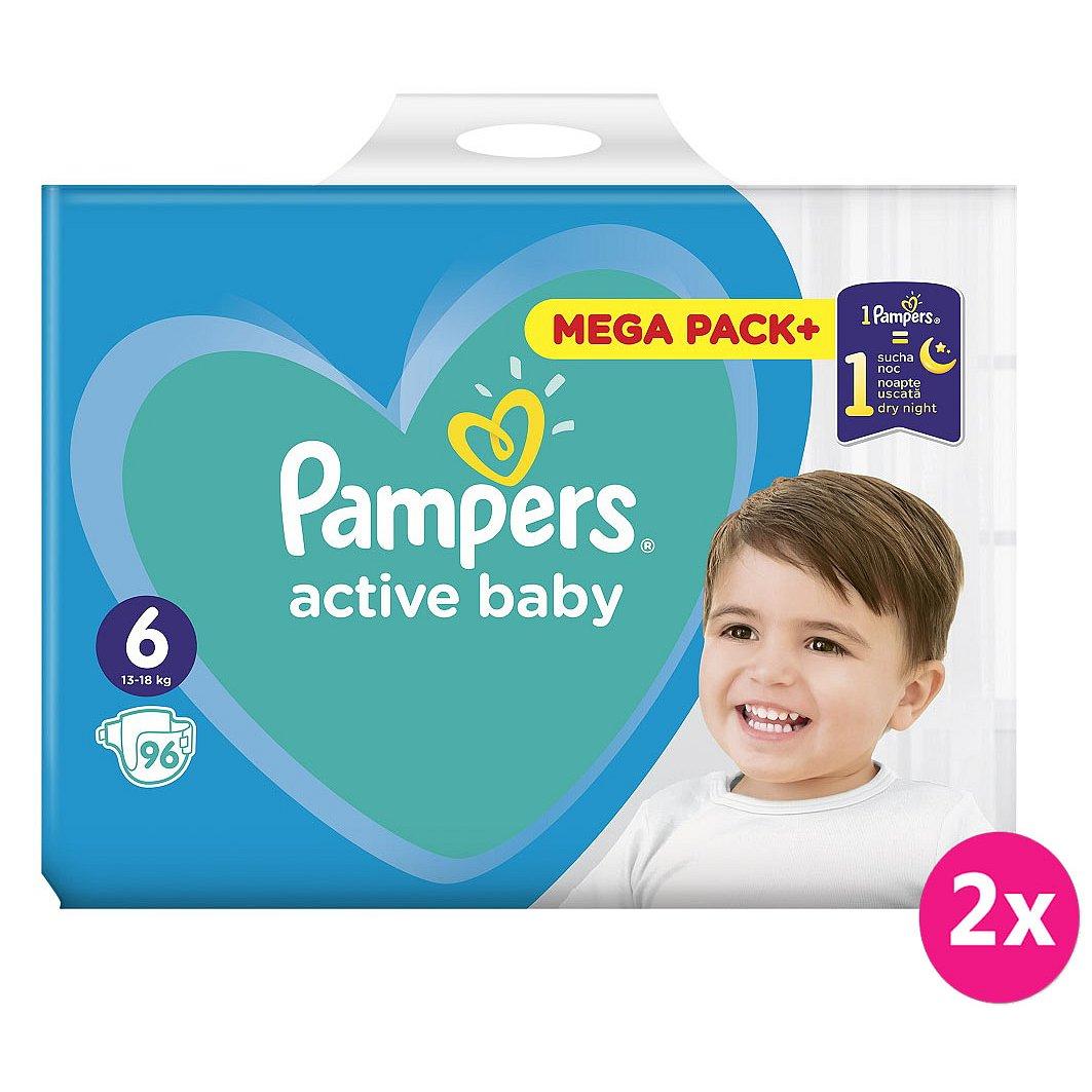 2x PAMPERS Active Baby 6 (13-18kg) 96ks MEGA PACK – jednorázové pleny