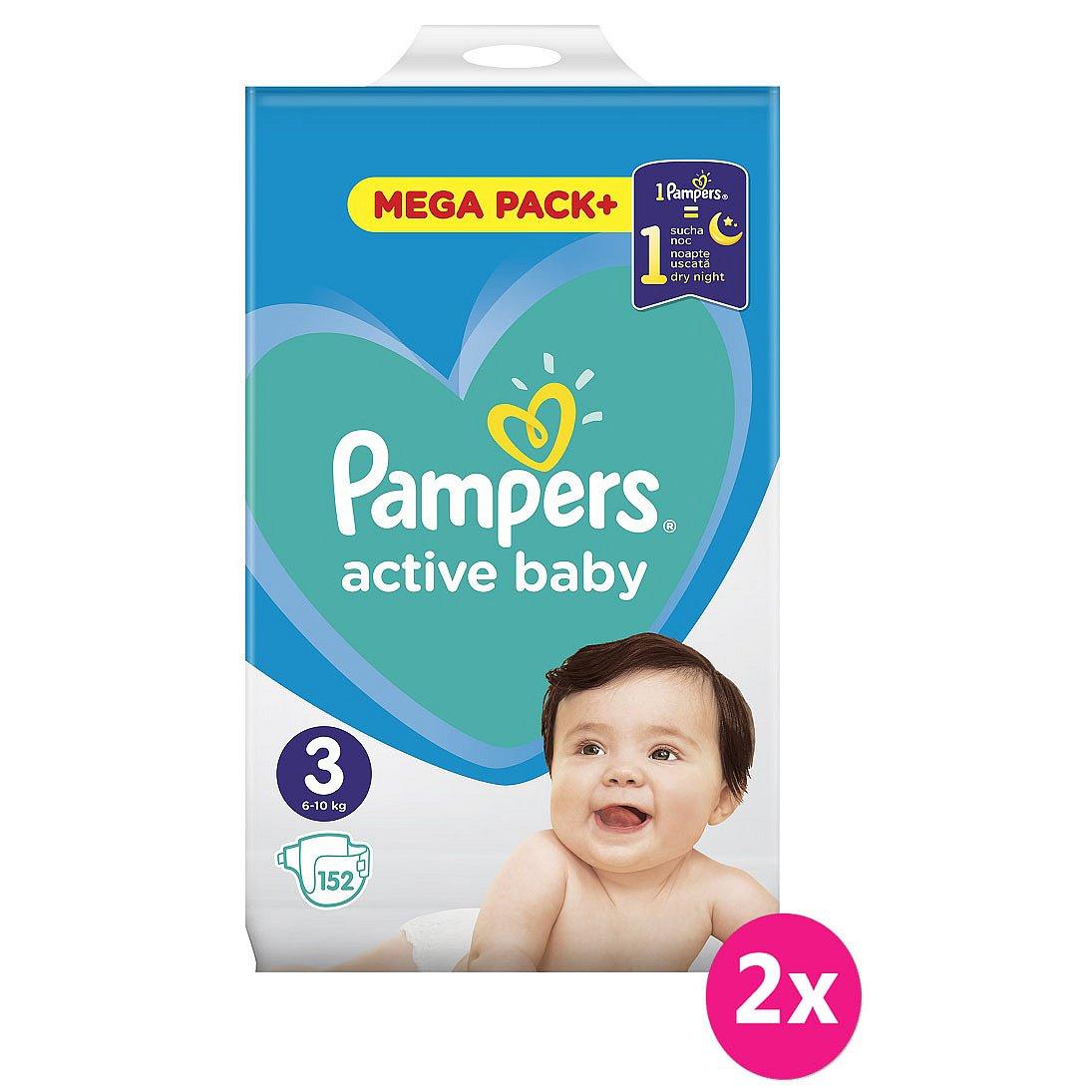 2x PAMPERS Active Baby 3 (6-10kg) 152ks MEGA PACK – jednorázové pleny