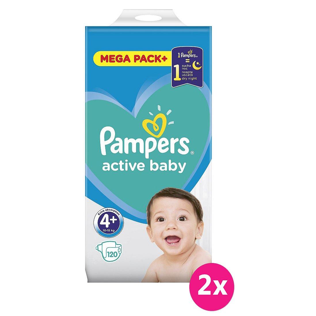 2x PAMPERS Active Baby 4+ (10-15kg) 120ks MEGA PACK – jednorázové pleny