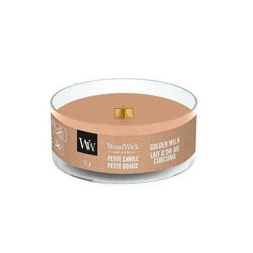 WoodWick Aromatická malá svíčka s dřevěným knotem Golden Milk  31 g