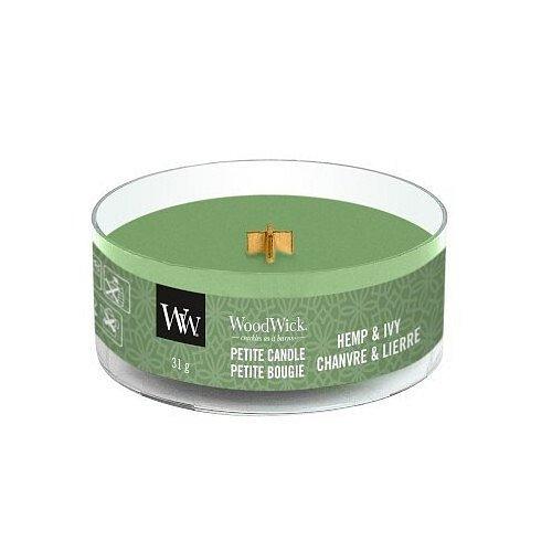 WoodWick Aromatická malá svíčka s dřevěným knotem Hemp & Ivy  31 g