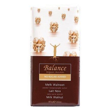 Balance Mléčná čokoláda s vlaš.ořechy b.cukru 85g