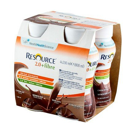 Resource 2.0 kcal Fibre Čokoládový perorální roztok 4 x 200 ml