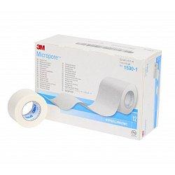 3M Micropore papírová náplast 2,5 cm x 9,15 m 12 ks bílá