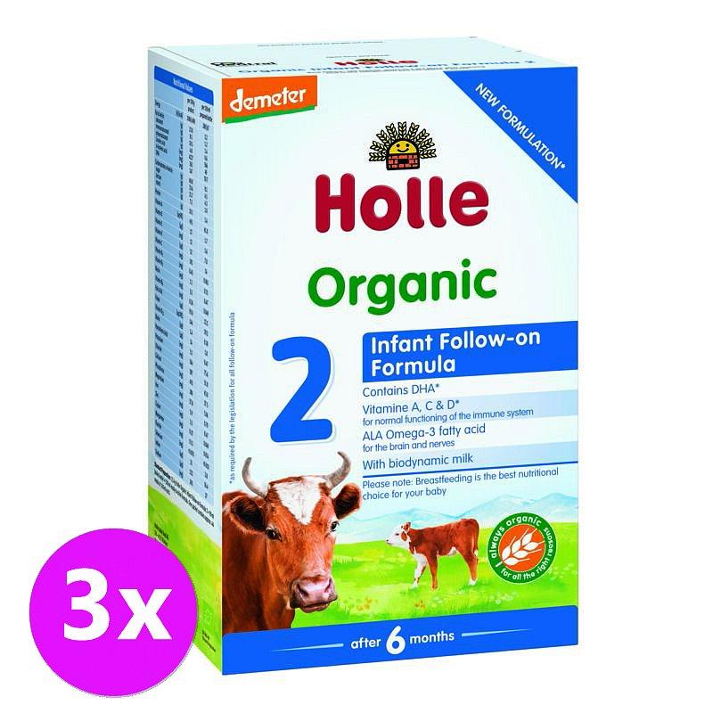 3 x HOLLE Bio Dětská mléčná výživa 2 pokračovací