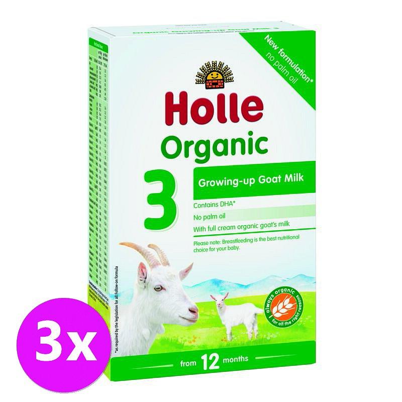 3 x HOLLE Bio Dětská mléčná výživa na bázi kozího mléka, pokračovací formule 3