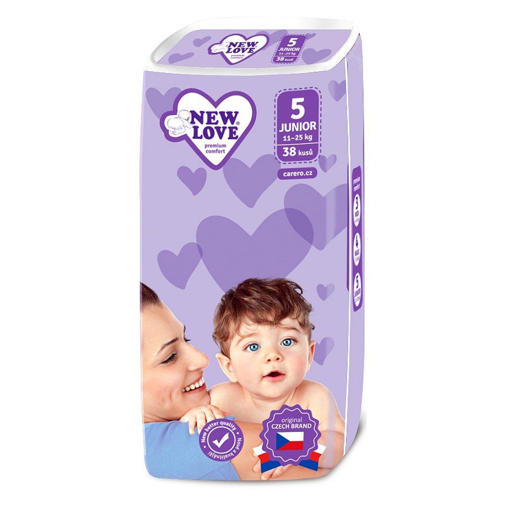 Dětské jednorázové pleny New Love 5 JUNIOR 11-25 kg 38 ks