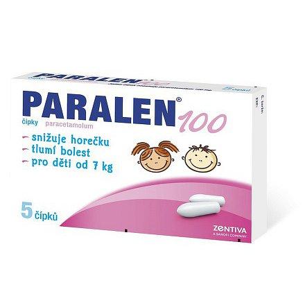 Paralen 100 čípek 5 x 100 mg