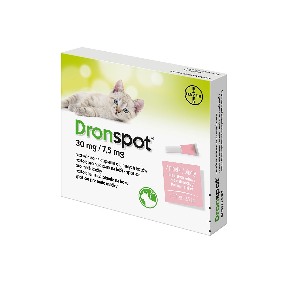 DRONSPOT 30 mg/7,5 mg spot-on pro kočky 2x0,35 ml