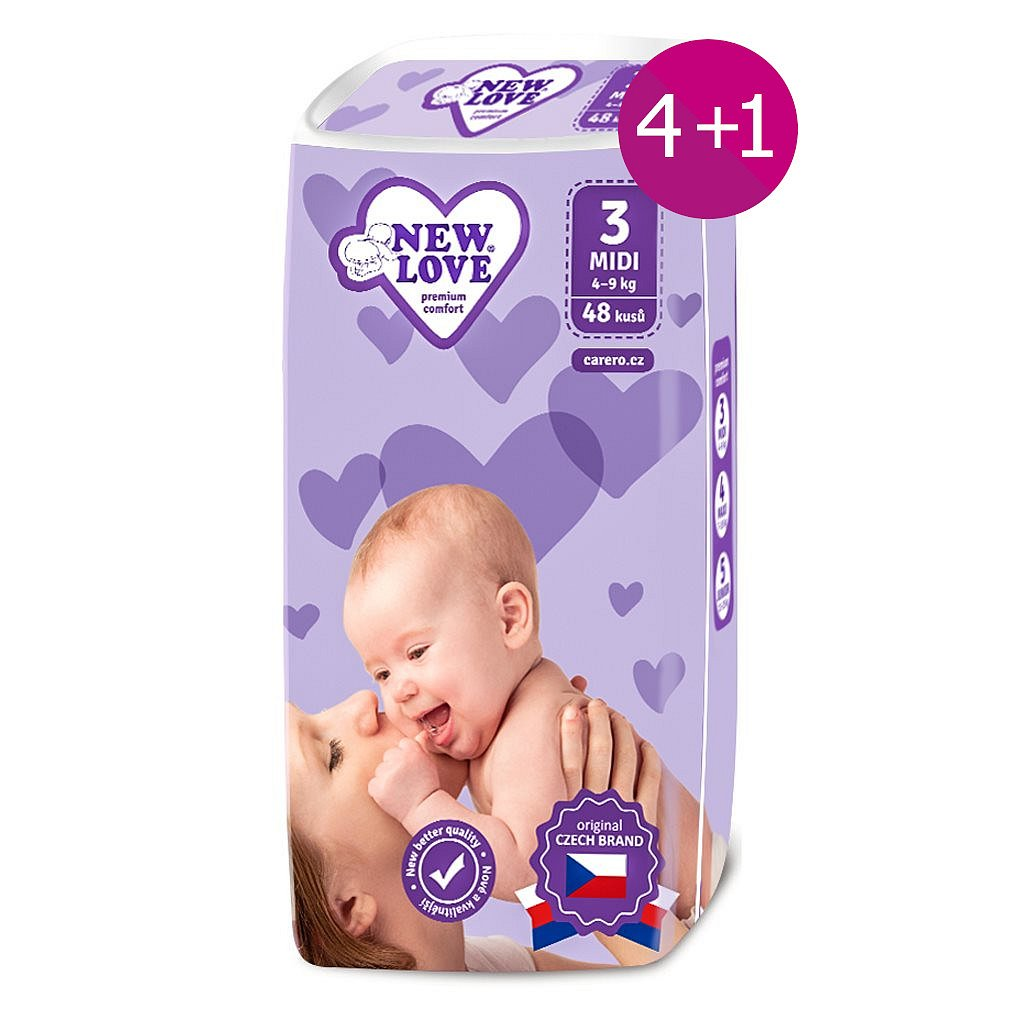AKCE 4+1 Dětské jednorázové pleny New Love 3 MIDI 4-9 kg