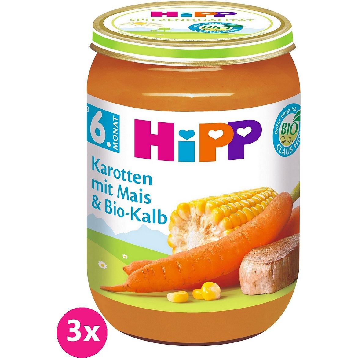 3x HIPP BIO Mrkev s kukuřicí a BIO telecím masem (6m+) 190 g