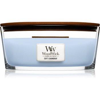 Woodwick Soft Chambray vonná svíčka s dřevěným knotem (hearthwick) 453,6 g