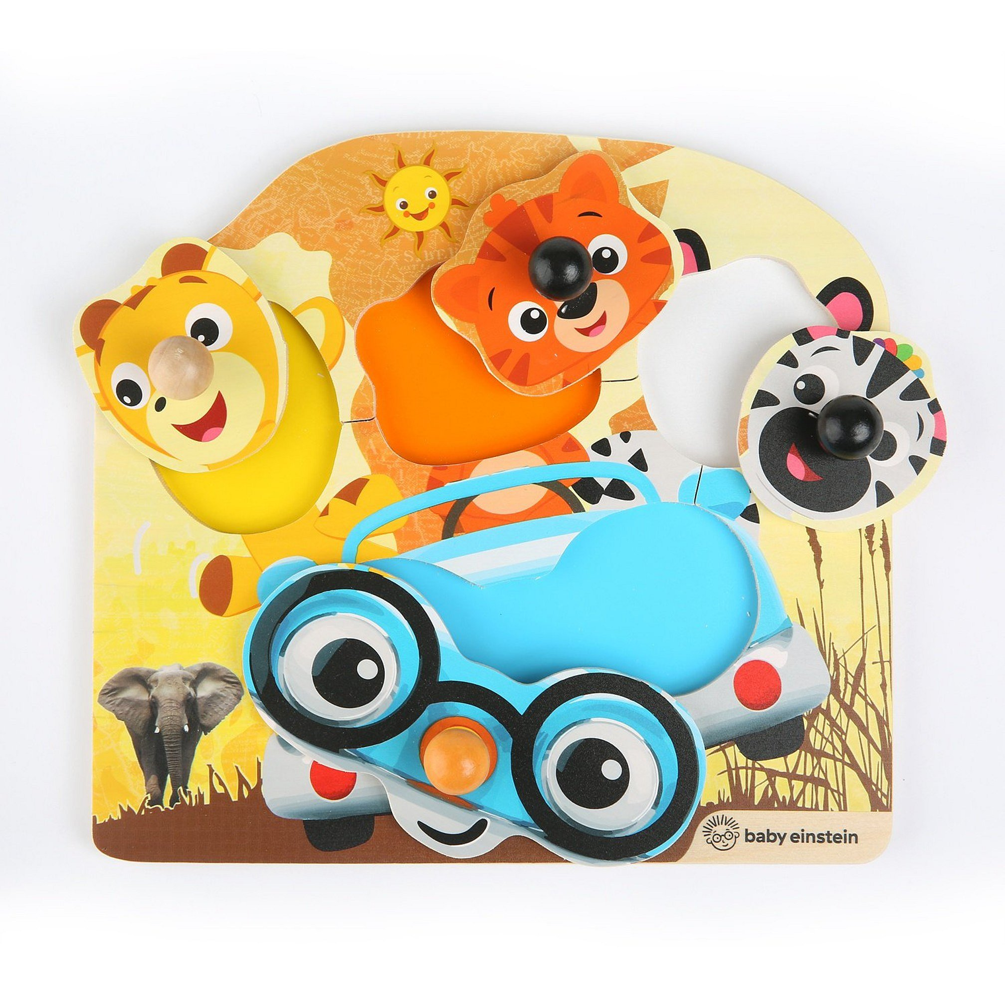 BABY EINSTEIN Hračka dřevěná puzzle Friendy Safari Faces 12m+