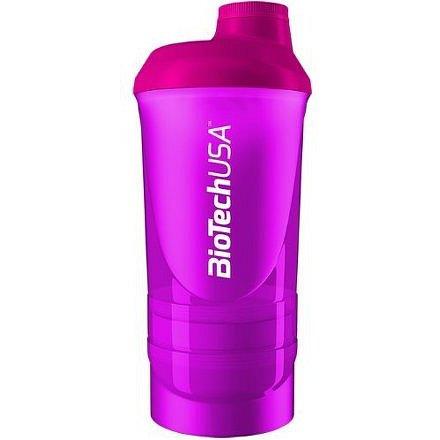 """BiotechUSA Shaker Wave+ 600ml(+250ml+100ml) """"Magic Magenta"""""""