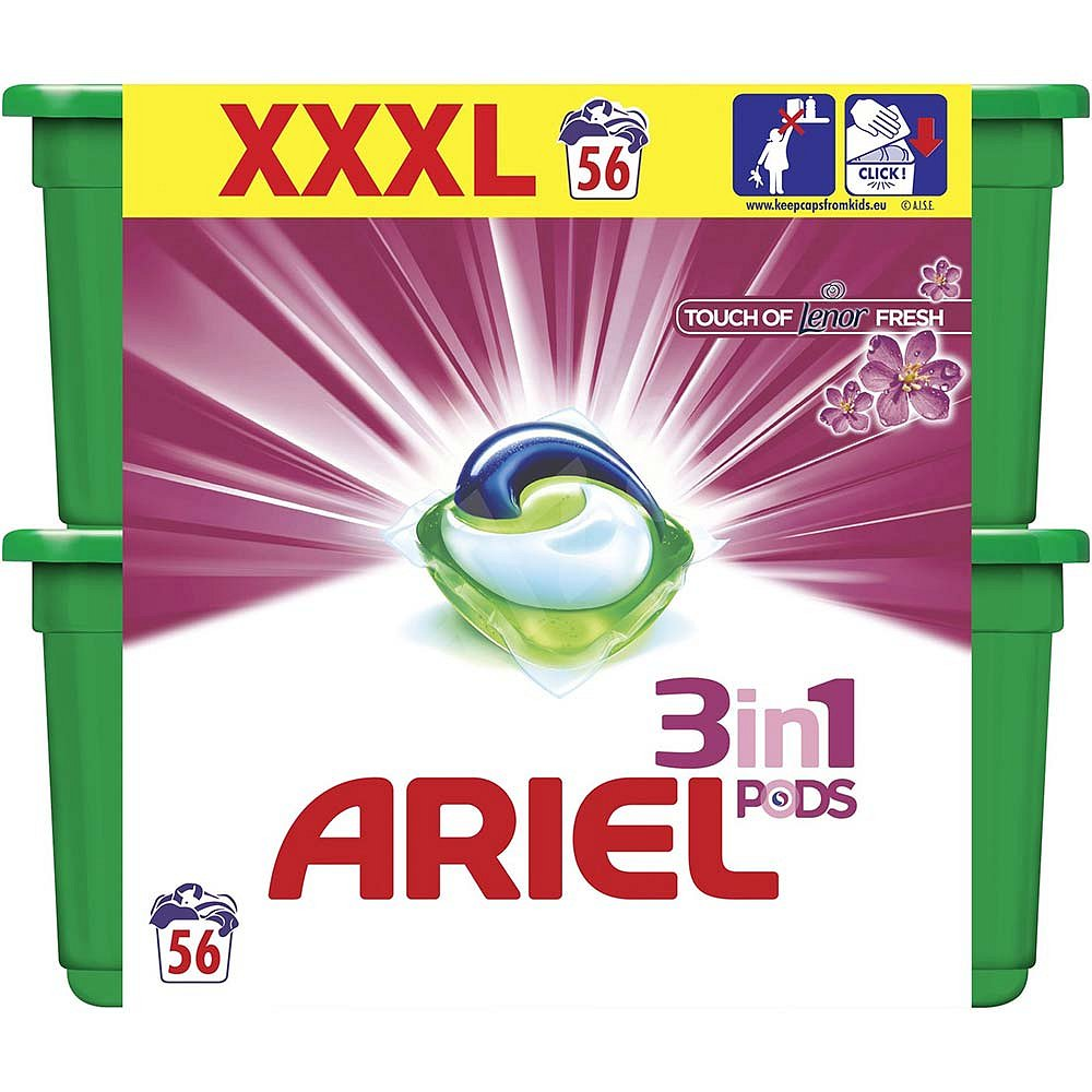 ARIEL Touch of Lenor Kapsle na praní 3v1 56 dávek, poškozený obal