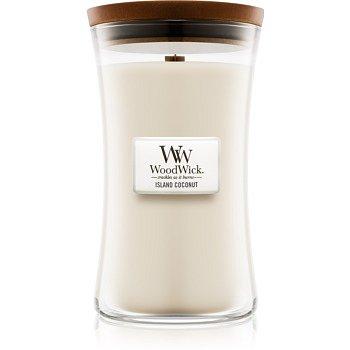 Woodwick Island Coconut vonná svíčka 609,5 g s dřevěným knotem