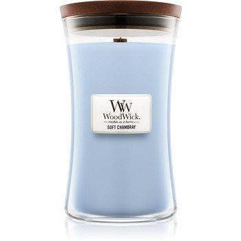 Woodwick Soft Chambray vonná svíčka 609,5 g s dřevěným knotem