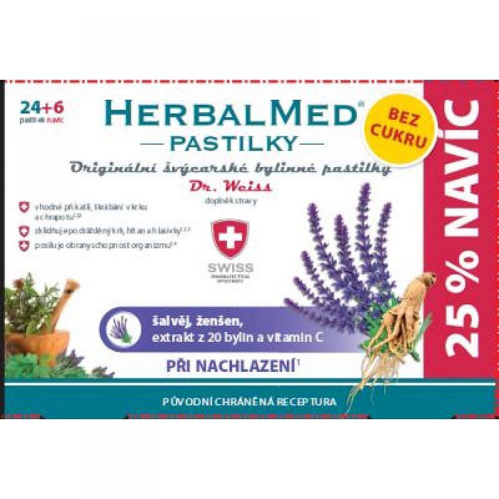 HerbalMed pastilky Dr.Weiss BEZ CUKRU Šalvěj, ženšen + vitamín C 24+6, poškozený obal