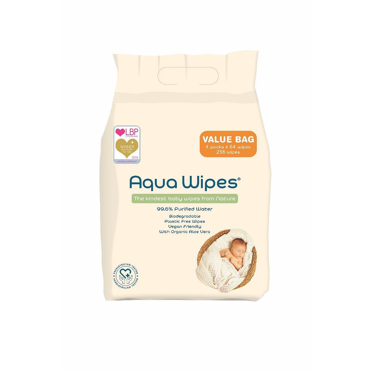 Aqua Wipes EKO Vlhčené ubrousky 4x64 ks