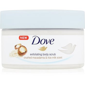 Dove Exfoliating Body Scrub Crushed Macadamia & Rice Milk vyživující tělový peeling  225 ml