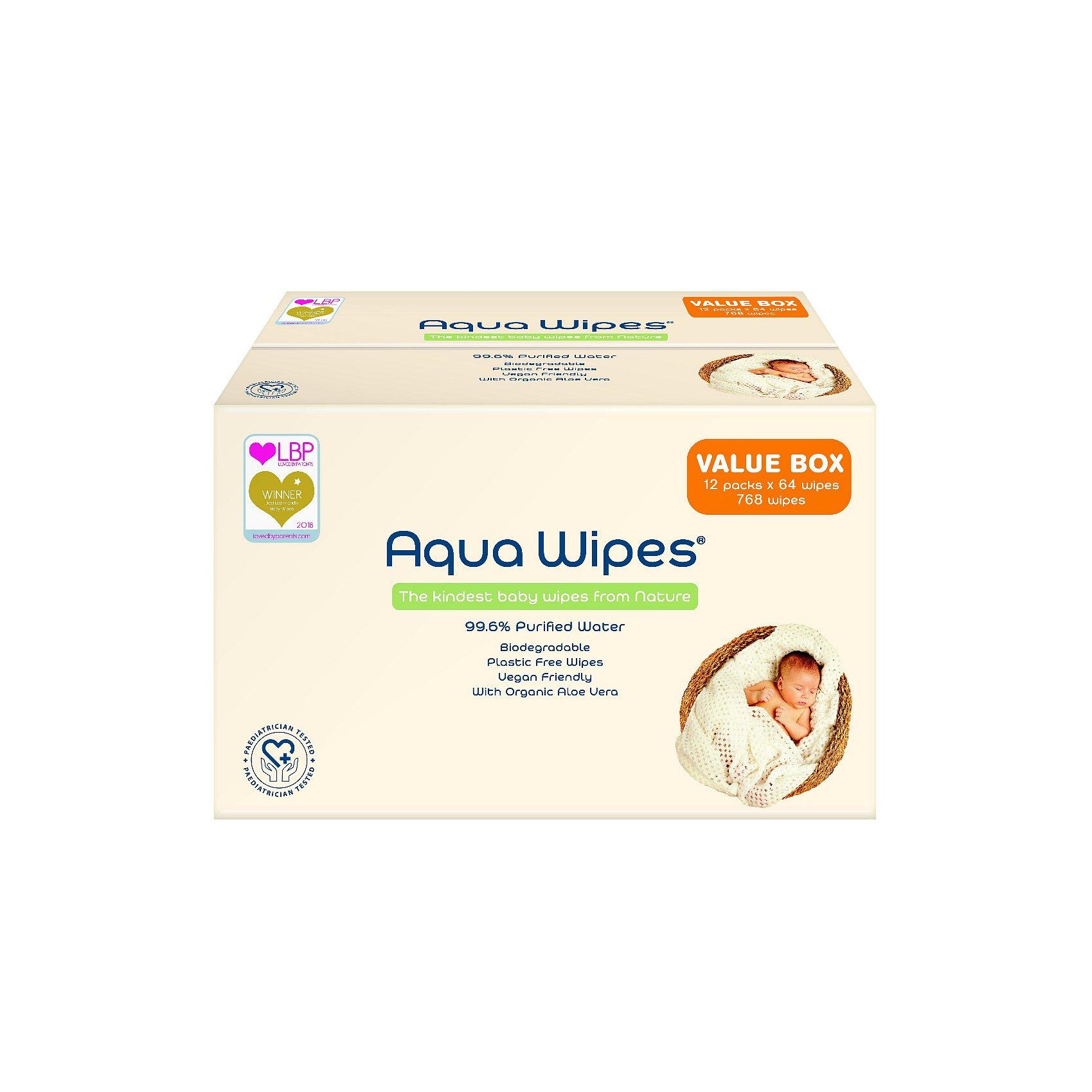 Aqua Wipes EKO Vlhčené ubrousky box 12x64 ks