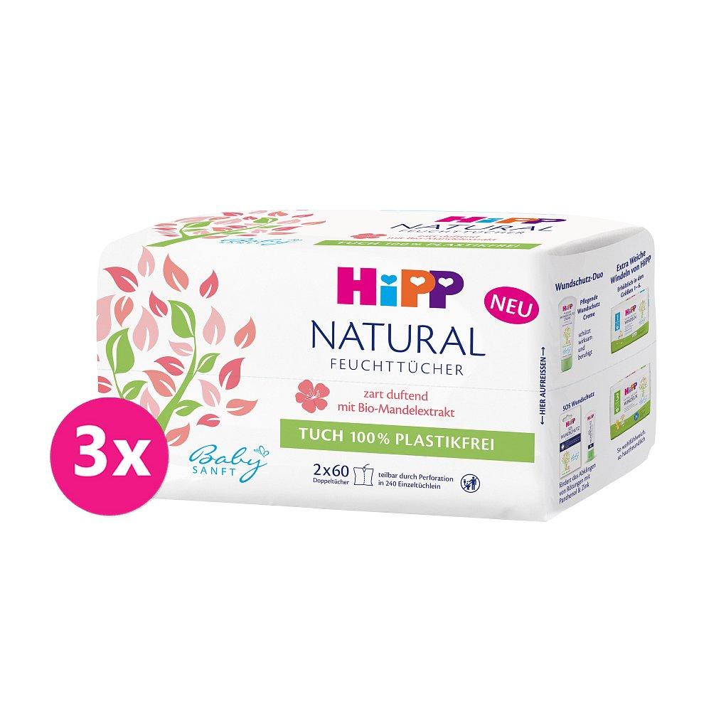 3x HIPP Babysanft Čistící vlhčené ubrousky Natural 2x60 ks