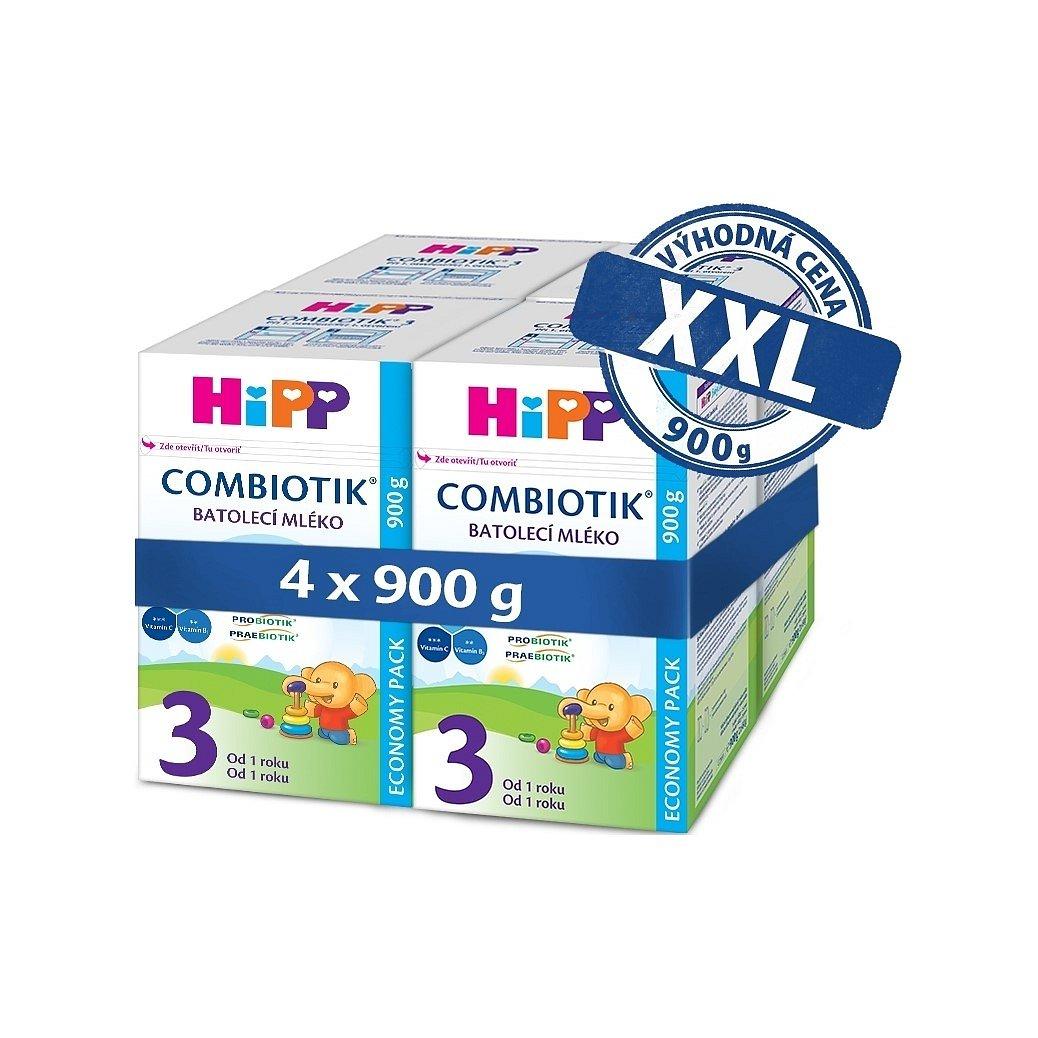 4 x HIPP Batolecí mléko 3 Junior Combiotik od uk. 1. roku, 900 g