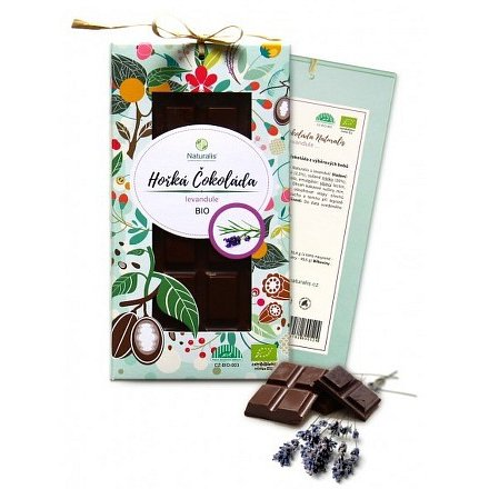 BIO Hořká Čokoláda Naturalis s levandulí 80g