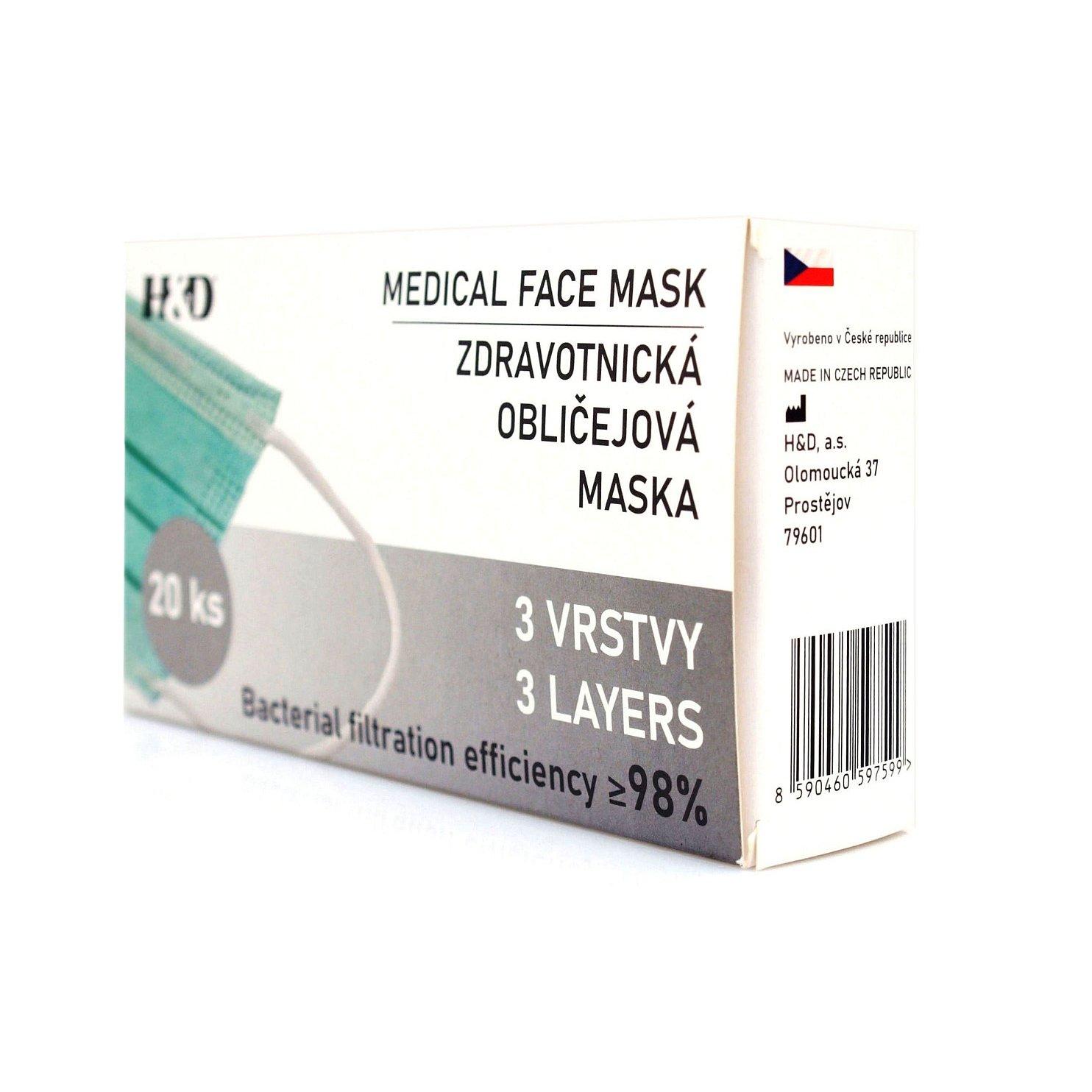20x Zdravotnická obličejová maska - rouška BFE 98%