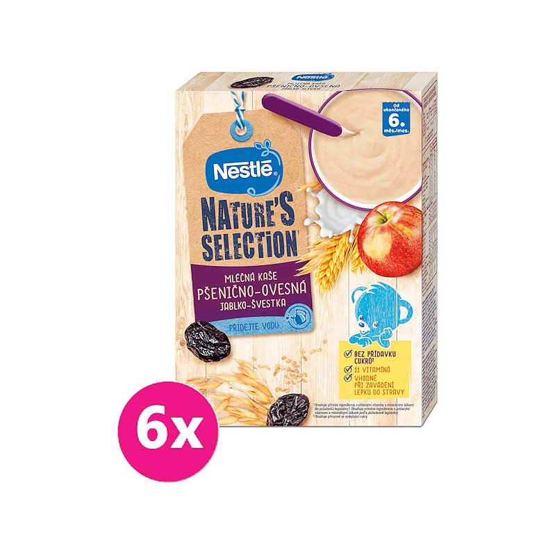 6x NESTLÉ NATURE'S SELECTION mléčná obilná kaše Jablko-švestka 250 g
