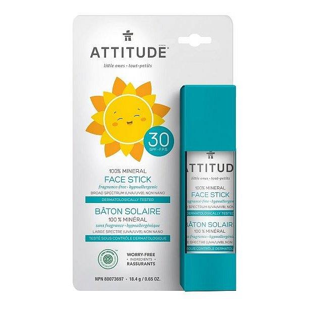Attitude Dětská 100 % minerální ochranná tyčinka na obličej a rty SPF30 bez vůně 18g