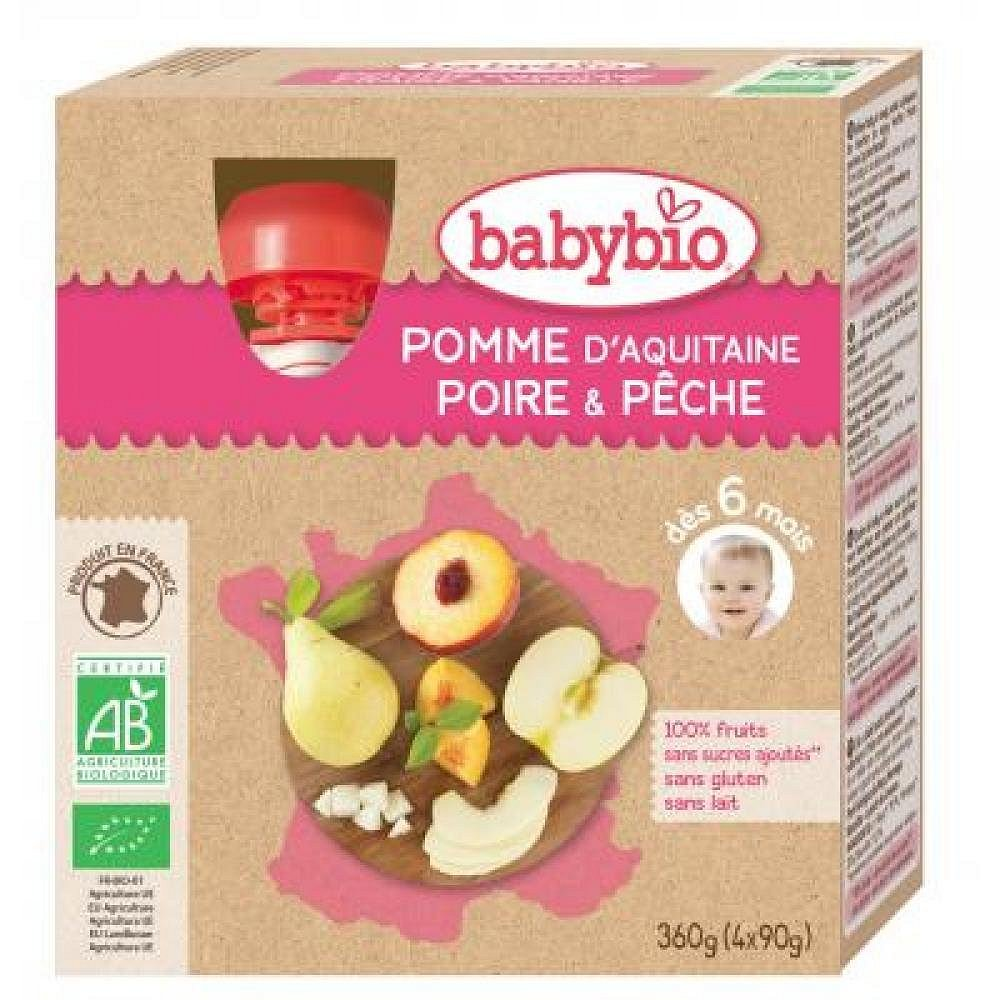 BABYBIO kapsička jablko s hruškou a broskví 4x90 g
