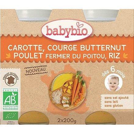 BABYBIO mrkev s máslovou dýní, kuřetem a rýží 2x200g